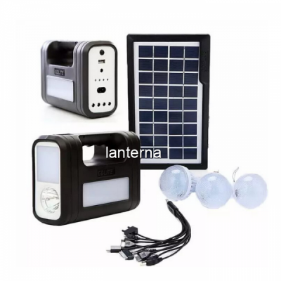 Kit Solar cu Lanterne LED, USB, 3 Becuri, 6V 4Ah GDLite GD8017NEW