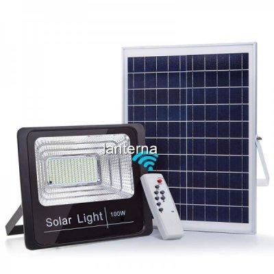 Proiector LED SMD 100W Alb Rece cu Panou Solar si Telecomanda IP66 WT